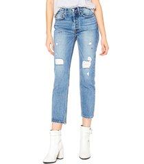 women's noend astoria high waist distressed crop straight leg jeans, size 28 - blue