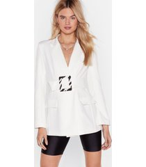 womens a lil bit wild zebra belted blazer - white