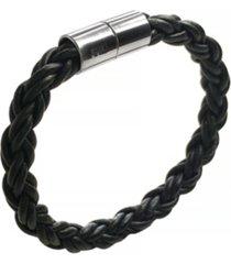 suki men's braided round leather 8mm bracelet