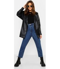 belted wrap faux leather jacket, black