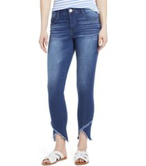 women's wit & wisdom high waist frayed tulip hem jeans, size 8 - blue (nordstrom exclusive)