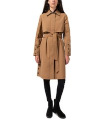sam edelman hooded belted water-resistant trench coat