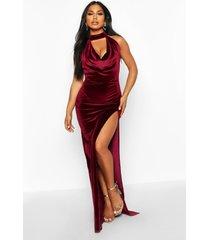 halter neck velvet backless maxi dress, berry