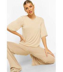 oversized t-shirt- en broek set, naturel