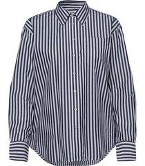 d1. crisp cotton relaxed shirt overhemd met lange mouwen blauw gant