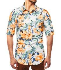 camisa de vacaciones de playa de bolsillo con estampado tropical multicolor bohemio de verano para hombres