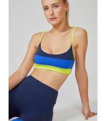 amaro feminino top esportivo listras, azul