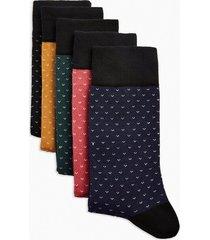 mens multi assorted colour birdesye socks 5 pack