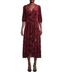 calvin klein women's burnout floral dress - rosewood - size 2