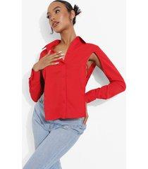 blouse met open rug en strik, red