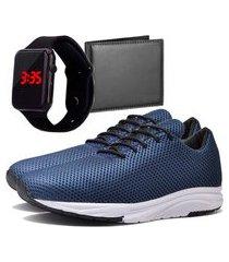 tênis sapatênis urbano com carteira e relógio led masculino dubuy 1108db azul