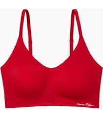 tommy hilfiger women's solid adjustable bralette apple red - xs