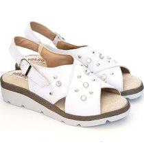 sandalia de cuero blanco valentia calzados brenda