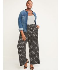 lane bryant women's pleated wide leg pant - belted pull-on matte jersey 10/12 black and white print