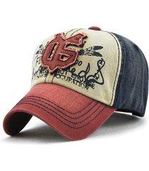 cappellino da baseball regolabile da esterno sportivo da uomo in cotone con ricamo patchwork da uomo