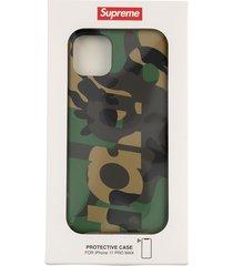 supreme camo iphone 11 pro case - green