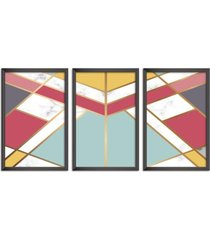 conjunto kit 3 quadro oppen house s 60x120cm escandinavo kiruna com vidro e moldura preta      quadro oppen house s decorativos