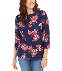 charter club pima cotton floral-print top, created for macy's