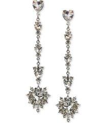 thalia sodi silver-tone multi-crystal heart linear drop earrings, created for macy's