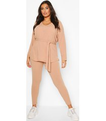 plus soft rib top & legging co-ord, stone