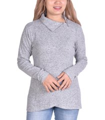 ny collection petite zippered high-neck pullover top