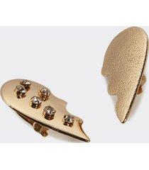 motivi orecchini in metallo zigrinato con pietre donna giallo