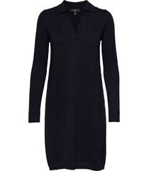 dresses flat knitted gebreide jurk blauw esprit collection