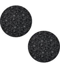 kit 2pçs d'rossi sousplat para prato suporte de mesa decorativo preto floral 30 cm