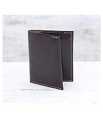 men's leather card holder wallet, 'dauntless brown' (india)