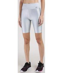 bermuda feminina esportiva ace com textura cinza claro