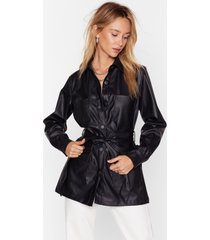 womens faux leather look back belted longline jacket - black