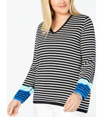 tommy hilfiger plus size cotton striped v-neck sweater, created for macy's