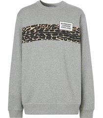 burberry leopard print panel sweatshirt - grey