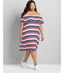 lane bryant women's striped multi-way off-the-shoulder short dress 38/40 red/blue/multi