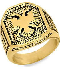 18k goldplated stainless steel eagle shield ring