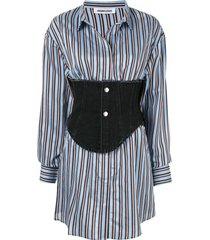 ground zero camisa listrada com espartilho - azul