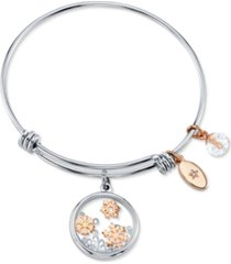 unwritten snowflake design 8mm clear bead shine rose gold two tone bangle bracelet silver plated charms