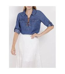 blusa jeans manga 3/4 feminina azul