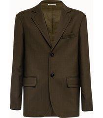 marni giacca in fresco lana verde militare