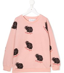 mini rodini guinea pig print sweatshirt - pink