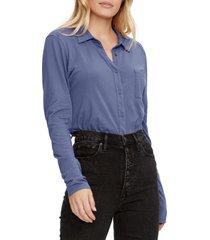 women's michael stars harley long sleeve ultra jersey shirt, size small - blue