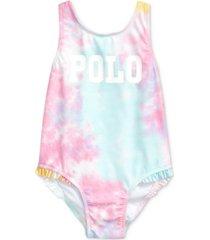 ralph lauren baby girls tie-dyed one-piece swimsuit