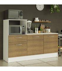 balcão madesa onix 180 cm 3 portas 1 gaveta e nicho para forno - branco/rustic branco