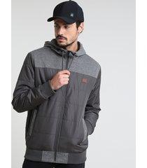 jaqueta masculina em nylon com capuz e bolsos chumbo
