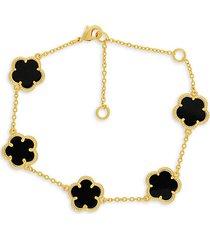 14k goldplated onyx clover bracelet