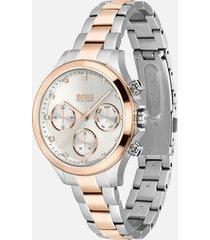 boss hugo boss women's bi/colour metal link watch - silver/gold