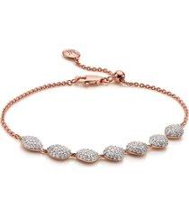 rose gold nura teardrop link bracelet diamond
