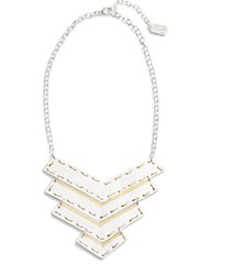 karine sultan chevron pendant necklace in silver/gold mix at nordstrom
