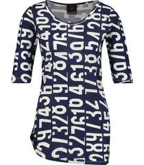 penn & ink s19f508 508-08 ny jurk all over print indigo cotton blauw