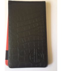 golfinred alligator leather golf scorecard holder & yardage book cover (black)